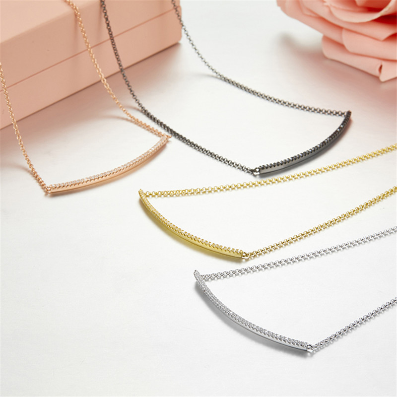 Women france zircon Line Necklace Silver adjust Chain cz bar Necklace Women crystal Choker Necklace Collier Femme monaco jewelry