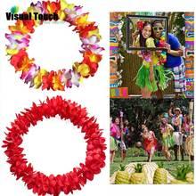 Гавайское ожерелье с визуальным прикосновением, венки, цветочная гирлянда, тропические Луау, вечерние, пляжный костюм хула, анадем, аксессуар для свадьбы, дня рождения