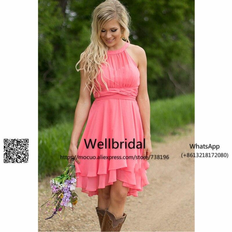 Hi Lo Gown 2017 Beach   Bridesmaid     Dresses   Short Chiffon Wedding Party   Dress   vestido de festa de casamento Pleat   bridesmaid     dress