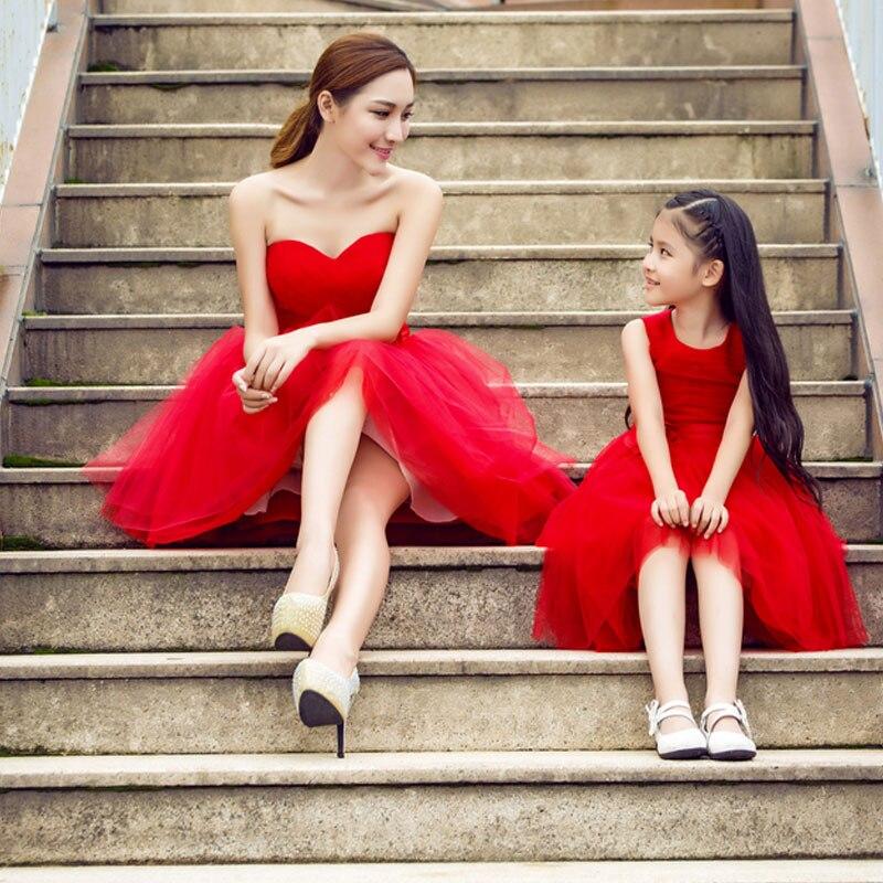 Mère fille robes de mariée rouge maman enfants maman et Duaghter Vestidos correspondant robes de demoiselle d'honneur soirée robe Tutu - 3