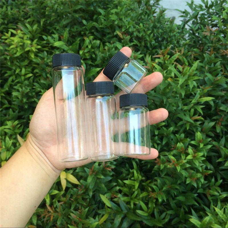 20ml 50ml 65ml 90ml Glass Bottles Plastic Cap Screw Transparent Glass Vials Plastic Bottles Jars Bottles3