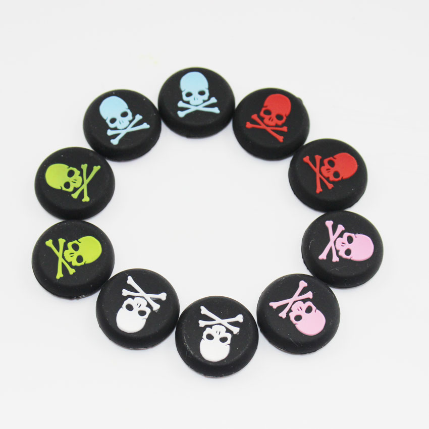 2X Skull Head Thumb Stick joystick Cover silicone Cap For Playstation 4 PS4 PS3 Analog Grip For Xbox one 360 PS4 Slim PS4 Pro