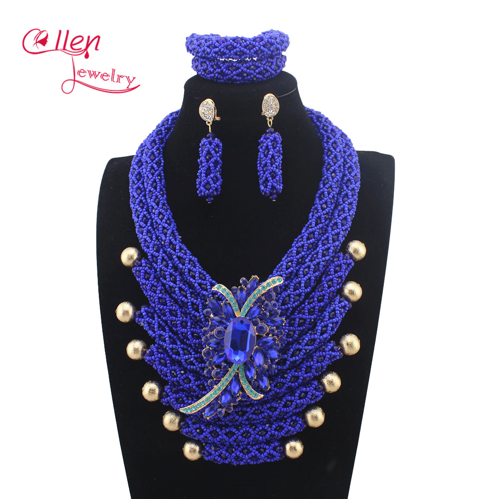 New African Beads Jewelry Sets Handmade Vintage Royal Blue