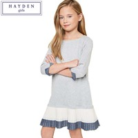 FAMIFAMI Teenage Girls Casual Dresses Designer Children Clothing Kids Girl Patchwork Pleated Dress Juniors Loose Shift