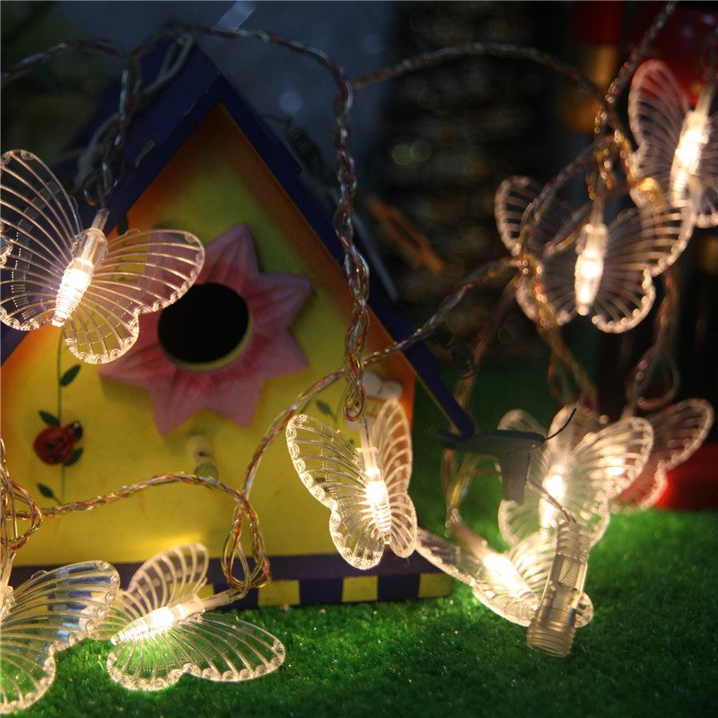 AC220V 10M 50led kupu-kupu membawa lampu rentetan hiasan Krismas - Pencahayaan perayaan - Foto 4