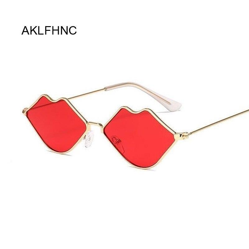 Small Frame Sunglasses Women Retro Lips Mirror Metal Sun Glasses Female Vintage Brand Designer Lunette De Soleil Femme