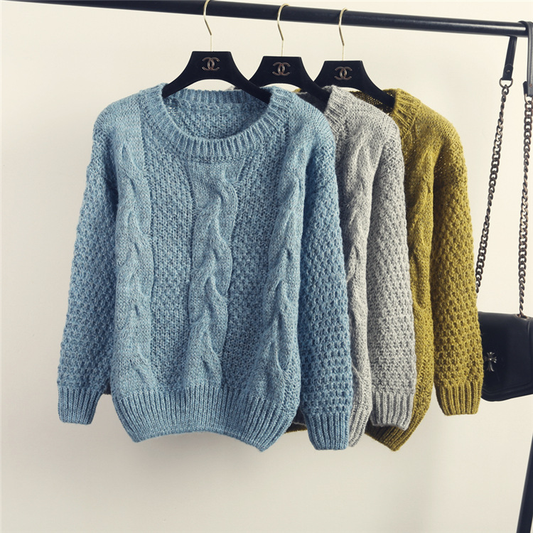 24450a1006 Winter Women Vintage Fisherman Sweater Style Cable Knit Jumper for Ladies  Crochet Loose Sueters Femininos Largos 2015