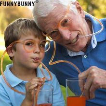 FUNNYBUNNY Flexible Funky Soft Glasses Silly Drinking Straw For Kids Party Game Fun silly chemnitz