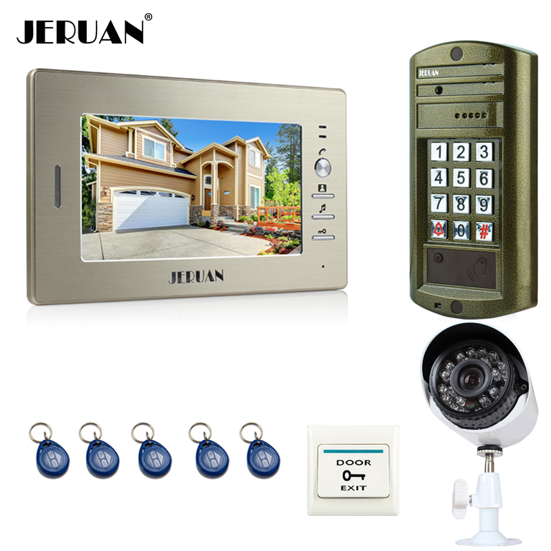 JERUAN 7`` Video Door Phone Intercom System kit Metal panel waterproof password keypad HD Mini Camera +Security Camera 24 LED jeruan 8 inch video door phone high definition mini camera metal panel with video recording and photo storage function