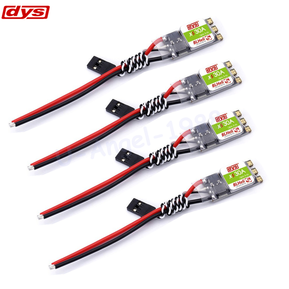 4pcs/lot Original DYS XS30A Blheli 30A ESC Electronic Speed Controller 3-6S Support Oneshot42 for FPV Quadcopter original racerstar tattoof4s 30a blheli