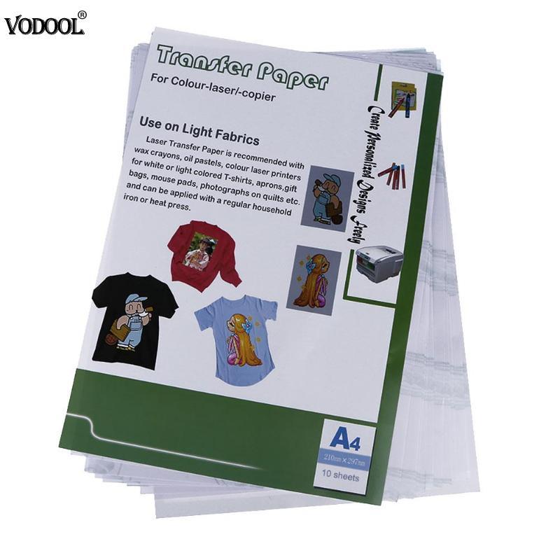 VODOOL 10 pcs/ensemble Creux Laser Papiers De Transfert De Chaleur pour T-shirt Thermique Transferts Papier Accueil Art Artisanat Impression Papier Bureau Outil