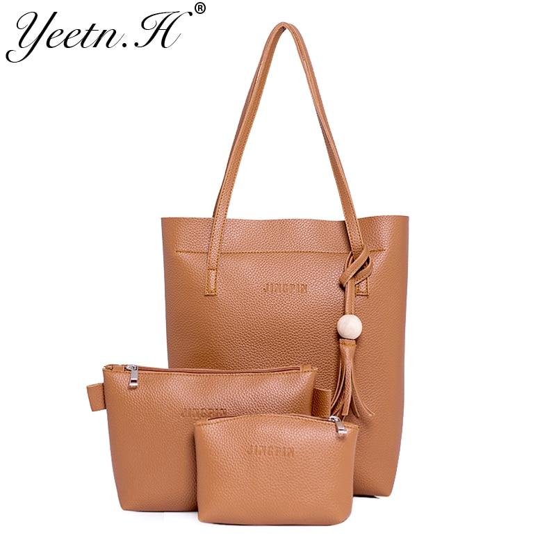 Yeetn.H 새로운 도착 여자 핸드백 클래식 가방 패션 어깨 가방 인과 토트 가방 PU 가죽 가방 3 조각 드롭 배송 M7454