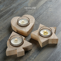 Handmade Creative Wooden Candlestick Decoration Indoor Home Bar Decorative Romantic Festival Gifts