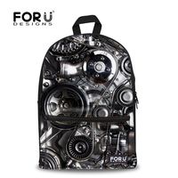 Retail Solid 3D Mechanical Style Rock Backpack Men High Quality Teenagers Boys Girls School Canvas Backpacks