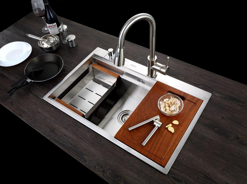 C & C SUS304 acier inoxydable évier de cuisine cuve ensemble avec robinet évier simple évier de cuisine lavage vanité - 3