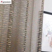 Single Panels Sheer Curtains Kitchen Window Tulle Modern Bedroom Decorations Polyester Material Jacquard Geometric Curtains