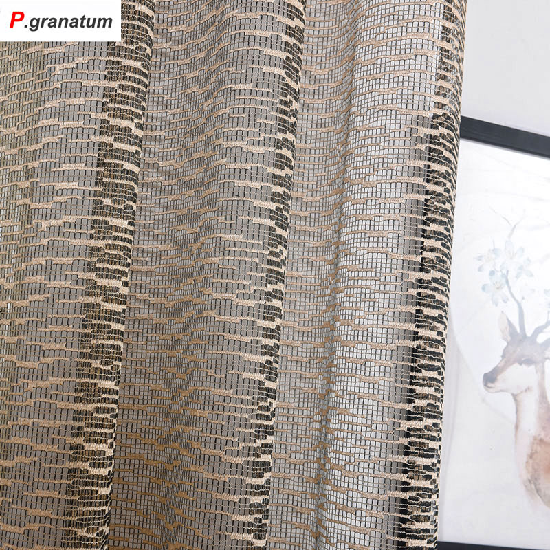 US $12.67 29% OFF Einzelplatten Gardinen küche Fenster Tüll Moderne  Schlafzimmer Dekorationen Polyester Material jacquard Geometrische  Vorhänge-in ...