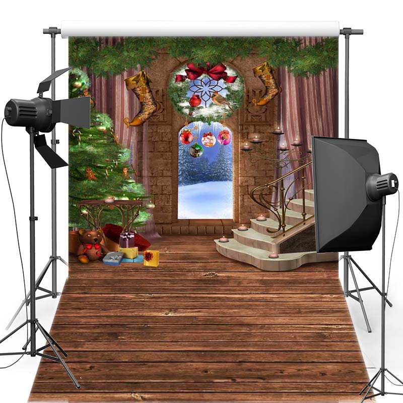 MEHOFOTO Merry Christmas Vinyl Photography Background Bell For Family New Fabric Flannel Backdrop For Photo Shoot 6368