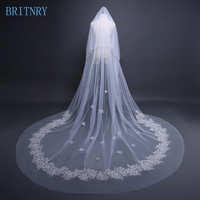 BRITNRY New Arrivals Flowers Wedding Veil with Comb Lace Appliques Two Layer Long Veil Wedding Accessories Ivory Bridal Veil