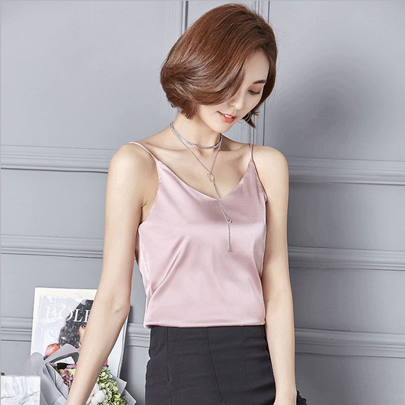 New Fashion Women's Ladies Silk Satin Cami Plain Strappy Vest   Tank     Tops   Sleeveless   Tanks   Casual Solid Ladies V Neck
