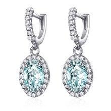 LISM Classic Fashion Good Quality AAA Cubic Zirconia Big Round Pendant Drop Clip Earrings Luxury Bridal Wedding Shining Earring