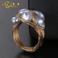 ZHIXI барокко натуральный жемчуг обручальные кольца для женщин ювелирные украшения пресноводный жемчуг кольцо 7 8mmмодный подарок на день рожд