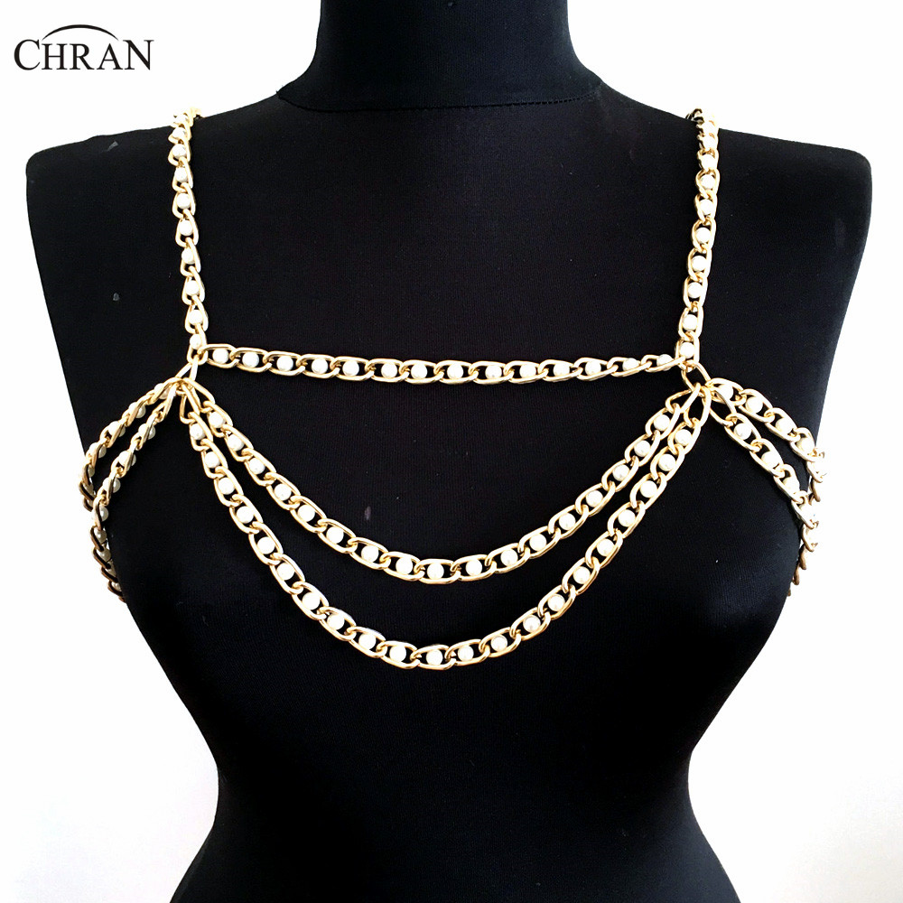 Chran 2018 Collar Statement Necklace Women Sexy Chain Faux Pearl Wedding Shoulder Necklace Chain Bralette Jewelry CRBJ911 cute women s rhinestone faux pearl decorated necklace