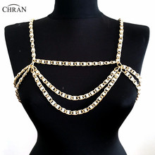 Chran 2017 Collar Statement Necklace Women Sexy Body Chain Faux Pearl Wedding Shoulder Necklace Chain Bralette Jewelry CRBJ911 layered faux pearl body chain