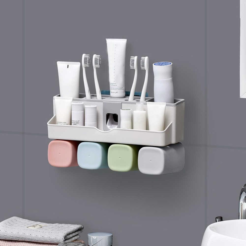 Brand New dozownik pasty do zębów szczoteczki do zębów nie wiertła do montażu na ścianie łazienka stojak do przechowywania dla rodziny 3-4 kubki