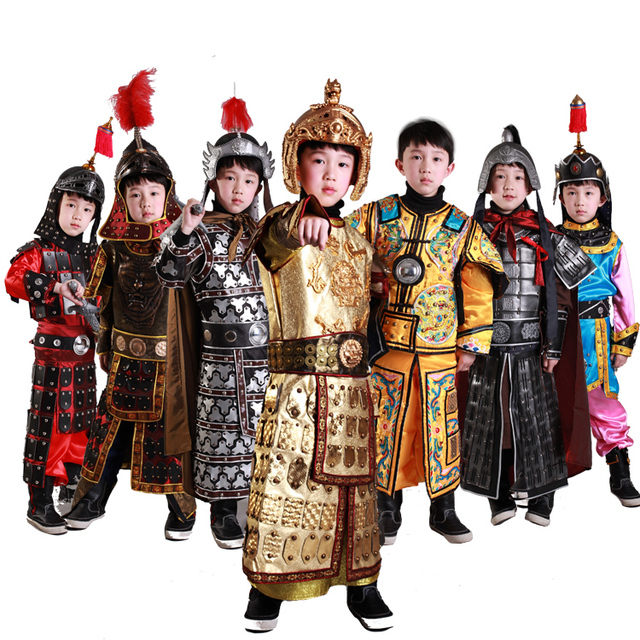 73eaac3fb Ancient Chinese general armor Children Cosplay Boy Girl clothes General  Armour Stage Show Performance TV Play