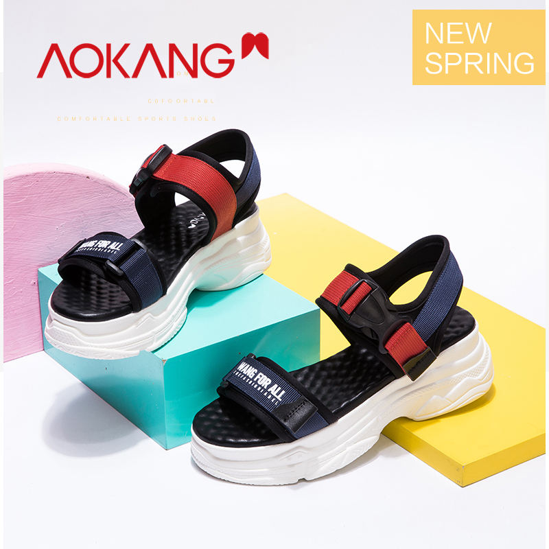 AOKANG Shoes Woman Sandals Platform-Wedge-Ankle-Strap Open-Toe Femme Casual Chaussures