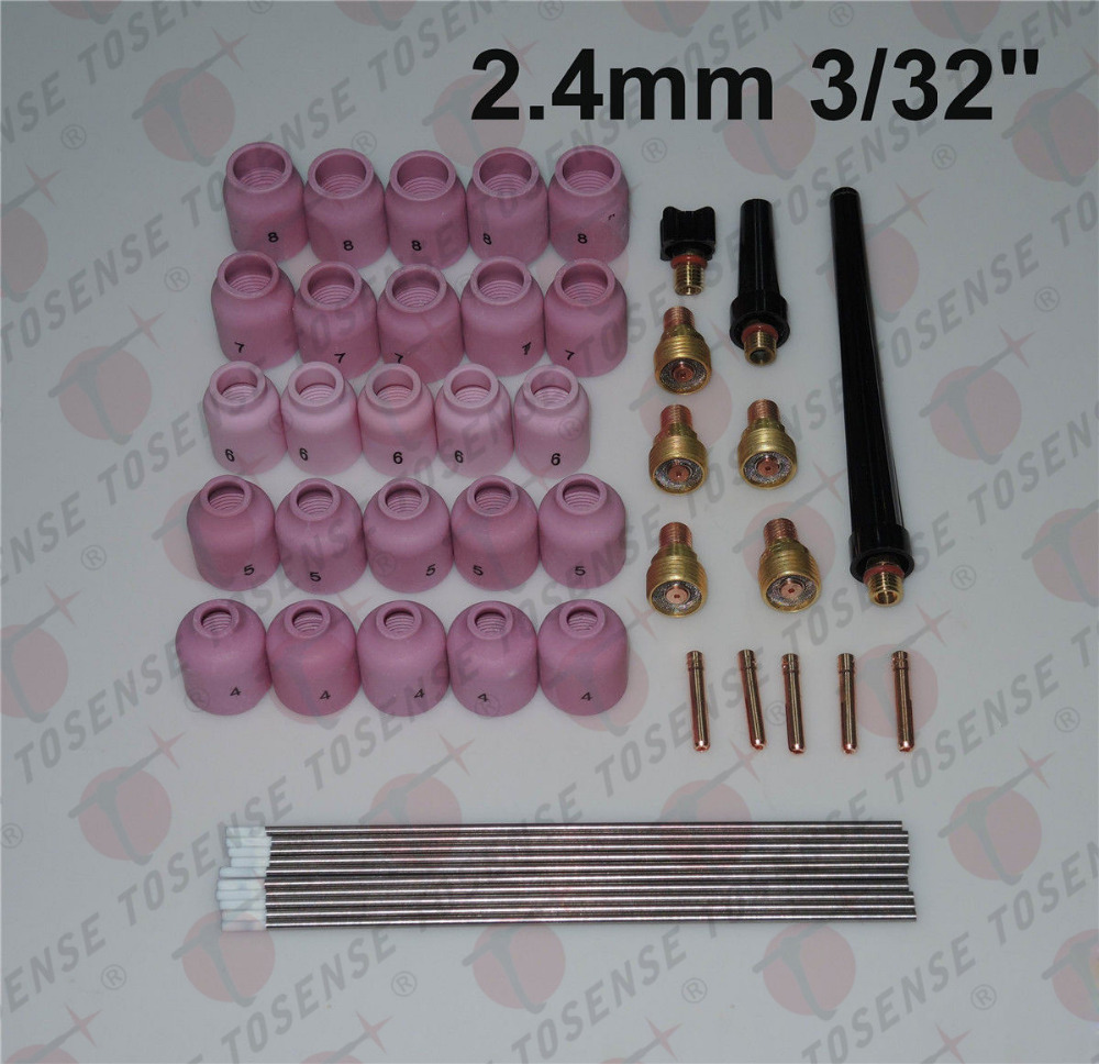 48 pcs TIG Welding Kit Gas Lens for Tig Welding Torch WP-9 WP-20 WP-25 WZ8 3/32