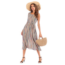 Summer hot new pleated high waist tie loose dress sexy fashion personality camouflage round collar printed casual womens