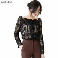 KoHuiJoo 2018 Fashon Korean Sexy Lace Shirt Women Black Beige Slash Neck Transparent Blouse Blusas Women