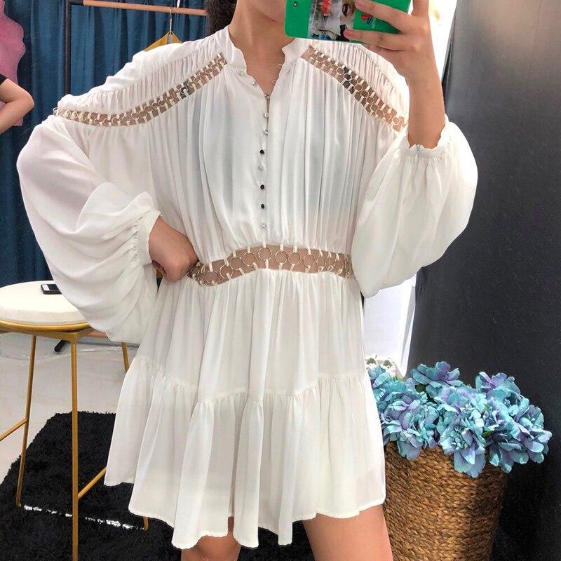 Bitcoin 新しい ネック女性のドレスエレガントなファッション カジュアル中空アウトパッチワークドレス女性ハイウエストの 5