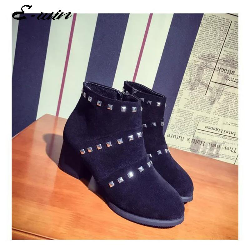 2016 New Women Fashion Boots Back Zip Round-toe Rivets Short Black Army Green Suede Leather Size 35-39