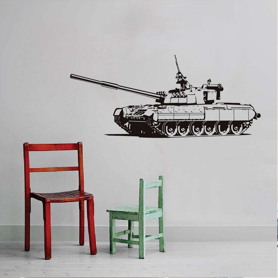 Free Shipping Military Heavy Tank Wall Stickers Home Decor Kids Room Decoration Removable Vinyl Art Silhouette Decoration