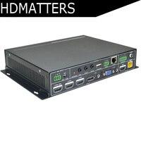 DP VGA HDMI Seamless Switcher Scaler 3XHDMI+VGA+PD to HDMI Scaler converter HDBaset extender RS232 IR Mic Audio