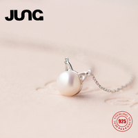 JUNG New Charm Cute Pearl Hollow Kitten Cat 925 Sterling Silver Necklace Gift Collar Pendant Jewelry