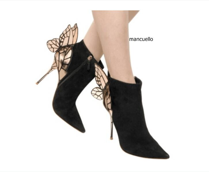 цены на Glamorous Black Suede Thin High Heels Butterfly Short Boots Classy Women Pointed Toe Stiletto Heel Ankle Boots Trendy Shoes в интернет-магазинах