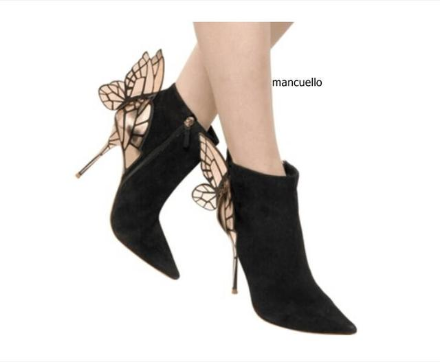 a017bc66812 Glamorous Black Suede Thin High Heels Butterfly Short Boots Classy Women  Pointed Toe Stiletto Heel Ankle