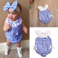 2017 striped infant blue sailor summer toddler Newborn Baby Cotton Romper Infant Girl Jumpsuit Kid Clothes Outfit 0-2T t shirt