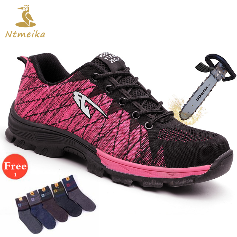 Plus Size 35-39 Summer Safety Shoes Women Steel Toe Casual Work Shoes Women Lace up Pink Outdoor Work Safety Boots For Woman цена