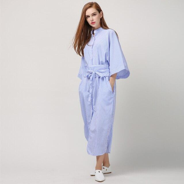 [TWOTWINSTYLE] Primavera Listrado Longo Retro Vintage Vestido Bandage Mulheres Camisa Nova Moda Roupas Cor de Rosa Azul Verde 3 Cores