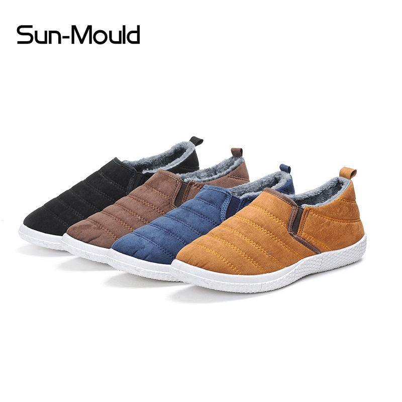 NEW Winter Plush Men Slippers Fleece Warm Fur Thicken Anti Slip Cotton-padded Shoes Fashion Man Slippers 39-44 Euro Booties
