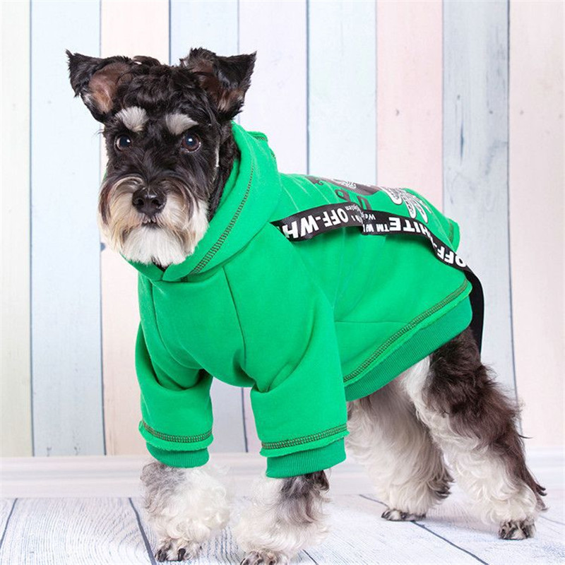 New Fashion Autumn/winter Pet Dog Clothes Polyester Double Foot Fashion Thickening Hooded Dog Clothes Pet Supplies(green,red)