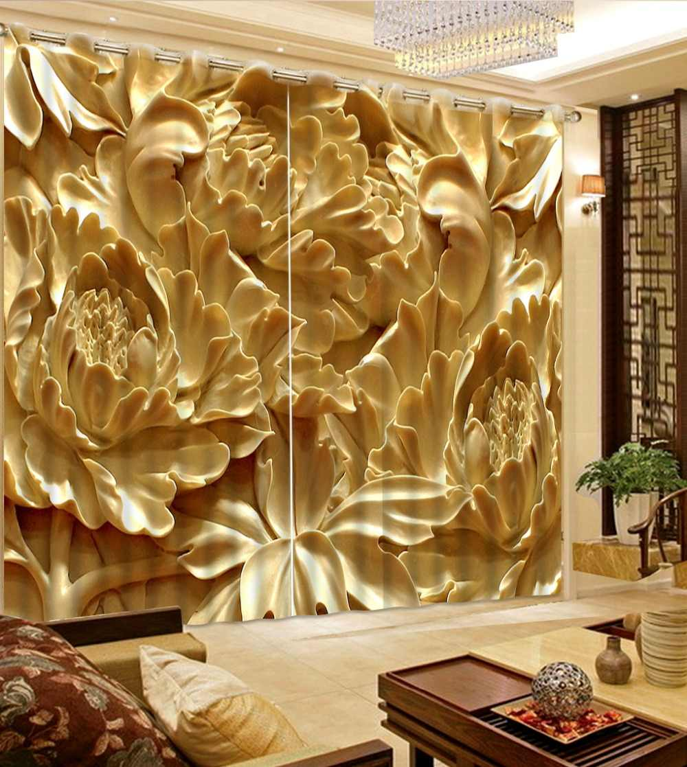 Chinese Luxury Curtains 3D Window Curtain Living Room Bedroom Stereo jade Lotus Photo Curtains Polyester/Cotton Thick Drapes