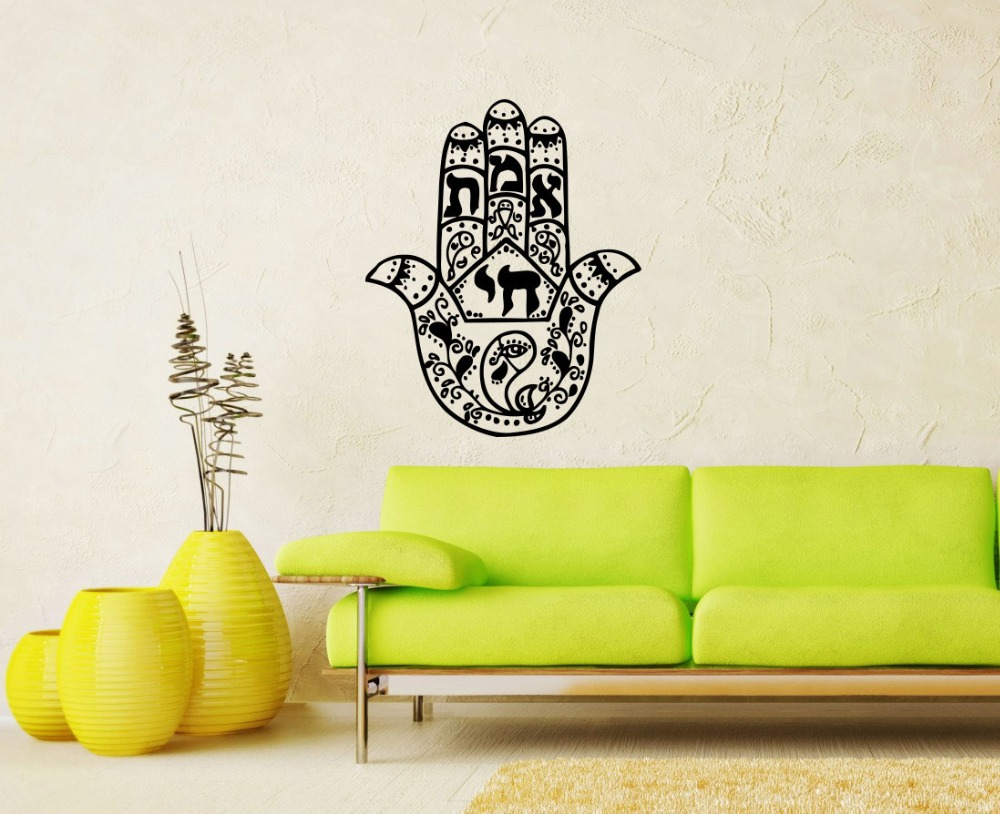 Hamsa Buddha Wall Stickers, Indian Mandala Hand Wall Decal Living ...
