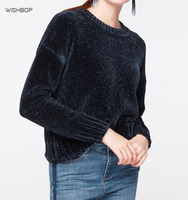 WISHBOP Women Autumn Fashion 2017 Warm NAVY Soft Chenille Asymmetrical Cropped Sweater Long Sleeves Short Pullovers Knitting Top