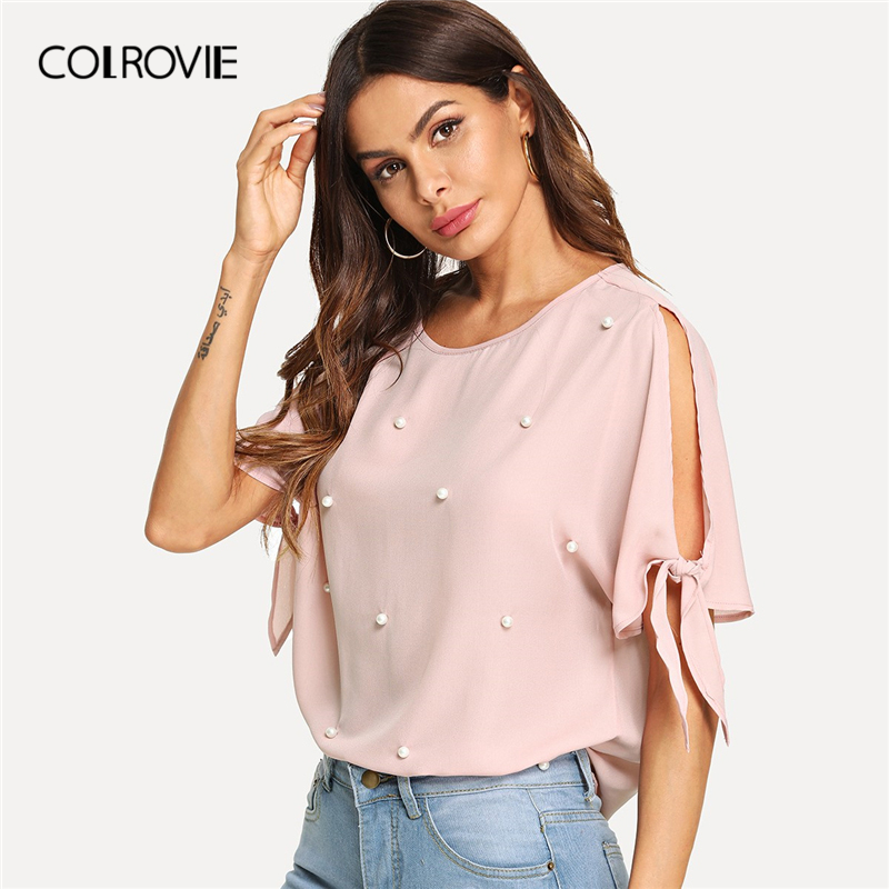 COLROVIE Pink Pearl Beads Knot Elegant   Blouse     Shirt   Women Clothing 2019 Summer Workwear Split Sleeve   Shirts   Office Ladies Tops